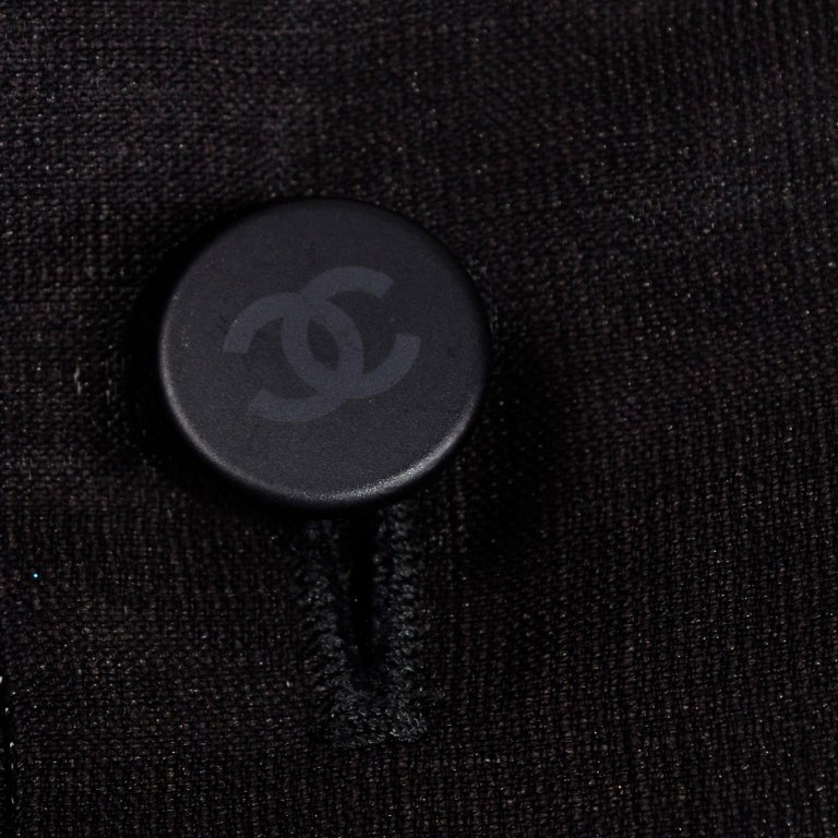 Chanel Black Metallic Linen Boat Neck Top With CC Logo Monogram Buttons  For Sale 5