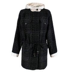 Chanel Black Metallic Tweed Jacket With Ivory Hood & Cuffs FR40