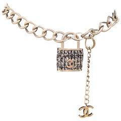 Chanel Black Multi Lock In Tweed Color Oversize Locket Silver Lock Belt