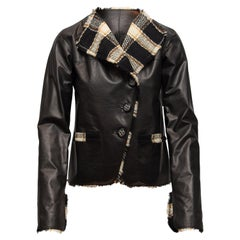 Chanel Black & Multicolor Fall 2007 Leather & Tweed Jacket