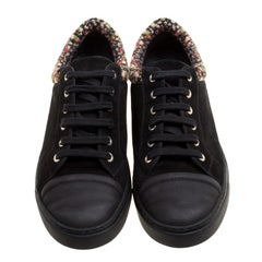 Chanel Black/Multicolor Leather and Tweed Sneakers Size 40.5