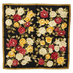 Chanel Black & Multicolor Rose Print Silk Scarf