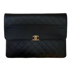 Chanel Black NEW Quilted Lambskin Leather Flap Clutch
