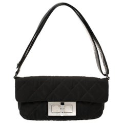 Chanel Black Nylon and Leather Giant Reissue Flap Shoulder Bag