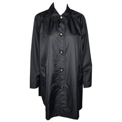 Chanel Black Nylon Swing Raincoat With Signature CC Buttons