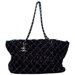 Chanel Black Nylon Tweed on Stitch Zip Top Bag rt $2,600