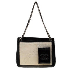 Chanel Black/Off White Pony Hair and Patent Leather Chain Tote