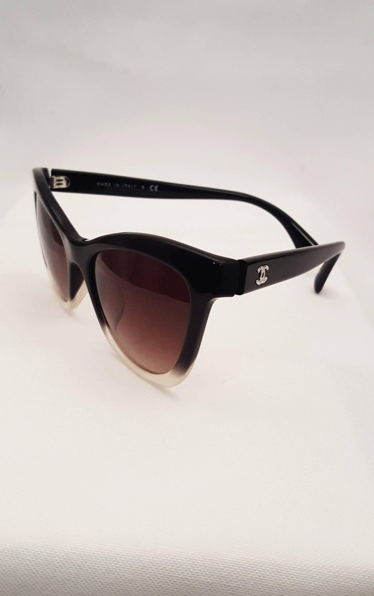 a51390a82c2 Chanel Black Ombre Polarized Cat Eye Style Sunglasses at 1stdibs
