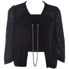 Chanel Black Open Weave Silver Tone Chain Detail Cropped Cardigan M