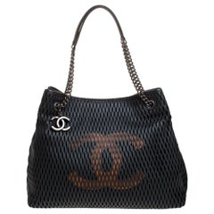 Chanel Black/Orange Perforated Leather CC Chain Tote