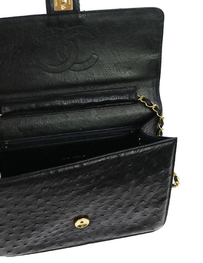 Chanel Black Ostrich Exotic Leather Gold Single Evening Shoulder Flap Bag In Good Condition In Chicago, IL