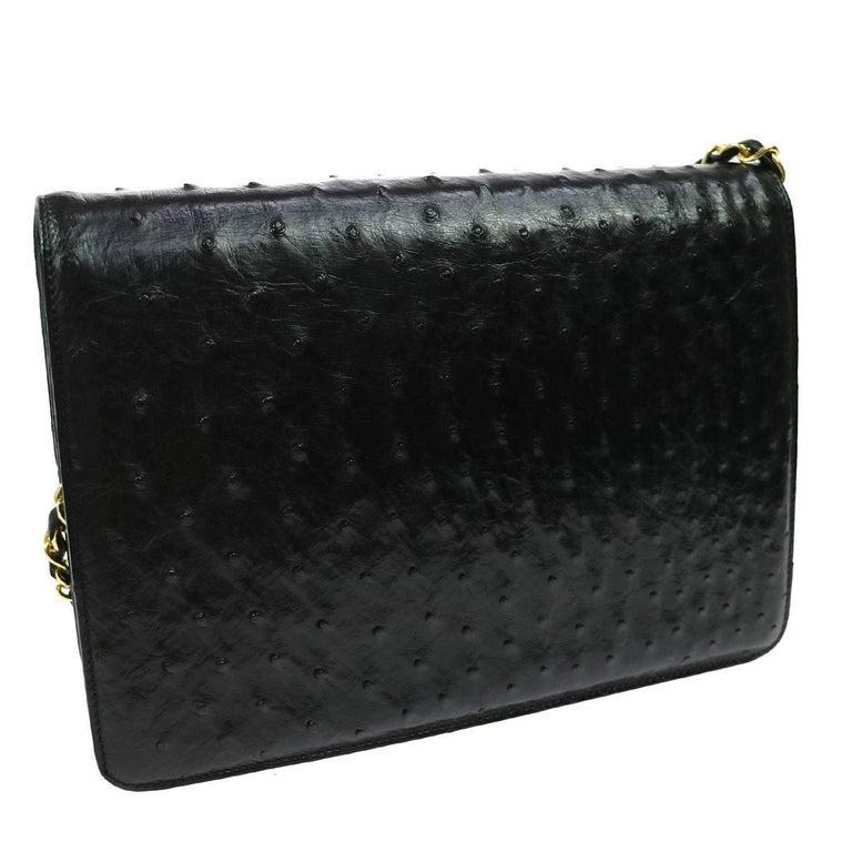 Women's Chanel Black Ostrich Exotic Leather Gold Single Evening Shoulder Flap Bag