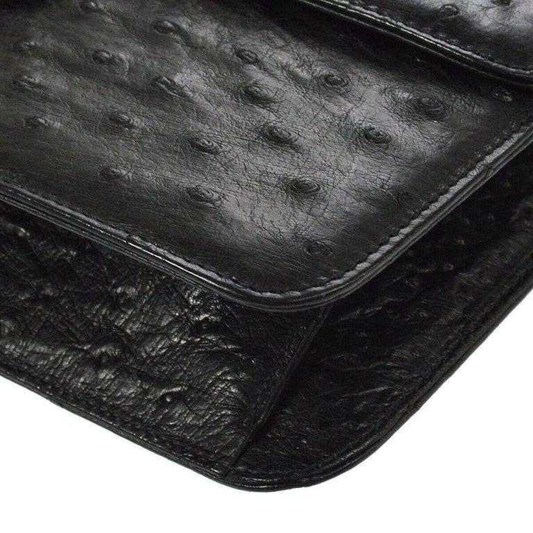 Chanel Black Ostrich Exotic Leather Gold Single Evening Shoulder Flap Bag 2