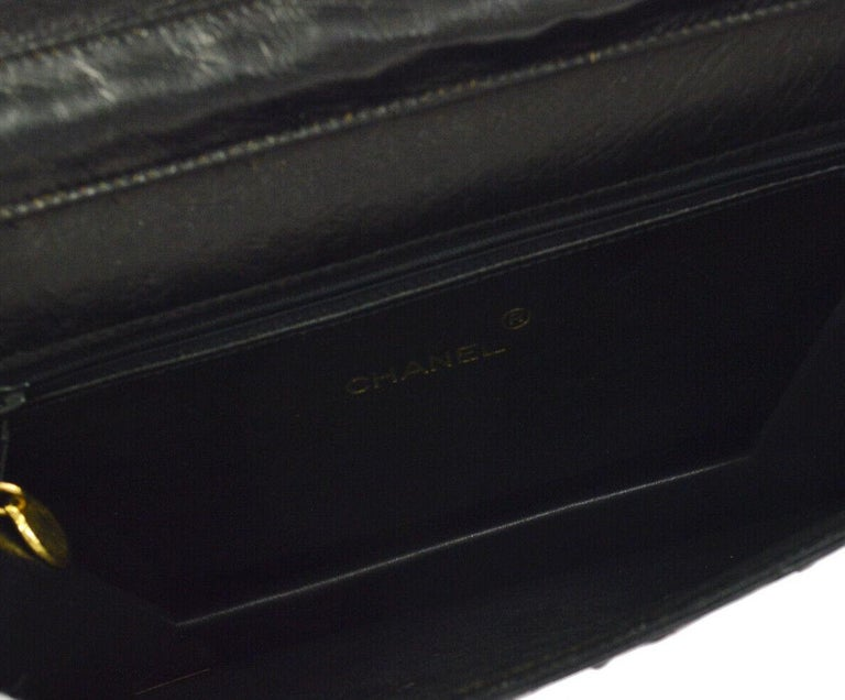 Chanel Black Ostrich Exotic Leather Gold Single Evening Shoulder Flap Bag 3