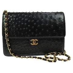 Chanel Black Ostrich Exotic Leather Gold Single Evening Shoulder Flap Bag