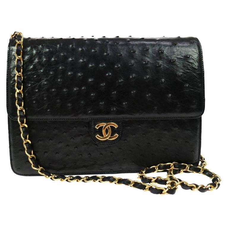 Chanel Black Ostrich Exotic Leather Gold Single Evening Shoulder Flap Bag