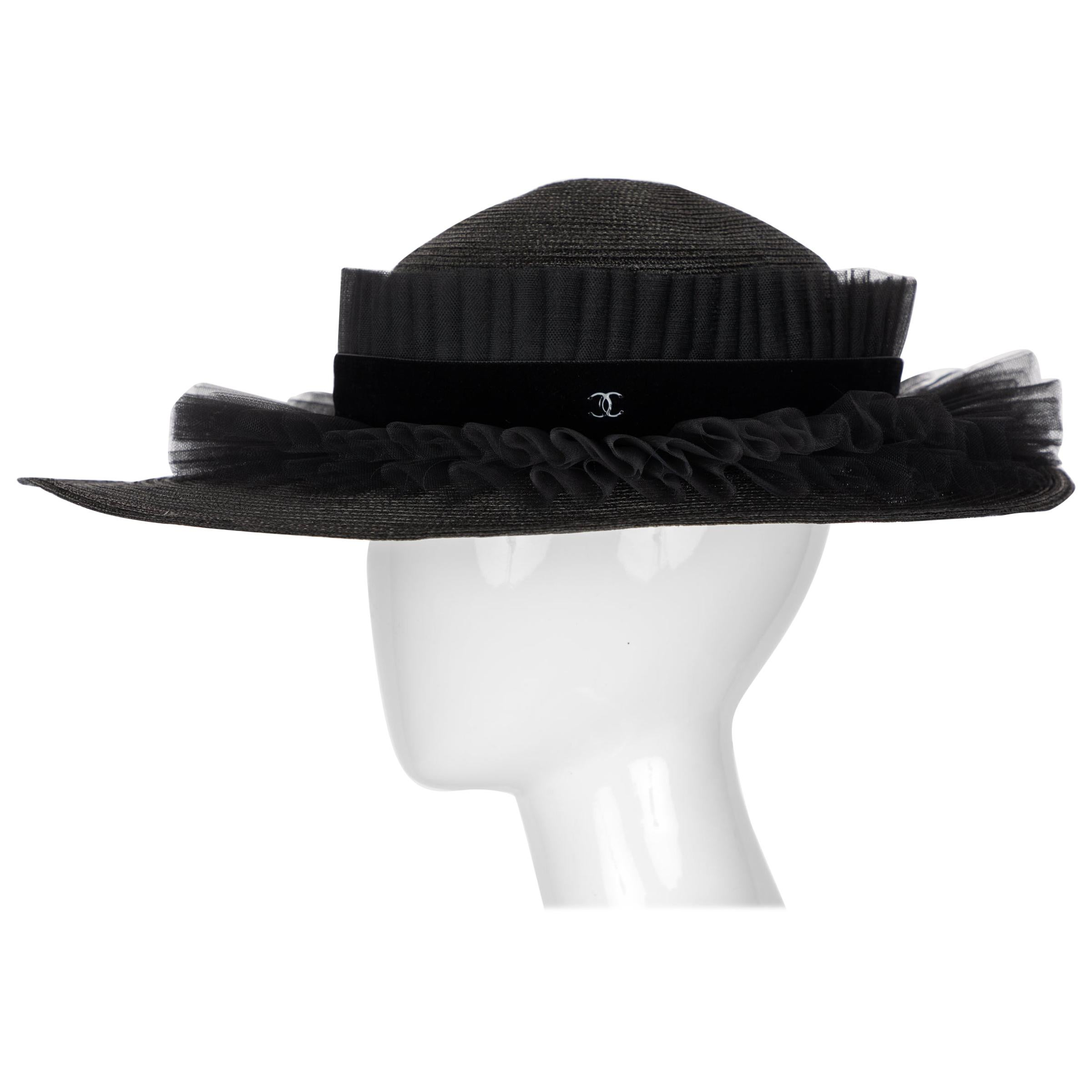 Chanel Black Oval Ruffle Hat Spring 2003
