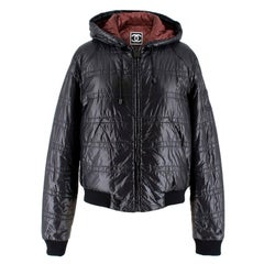 Chanel Black Padded Hooded Leather CC Patch Jacket US 10