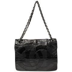 Chanel Black Patchwork Patent And Leather Brooklyn Shoulder Bag