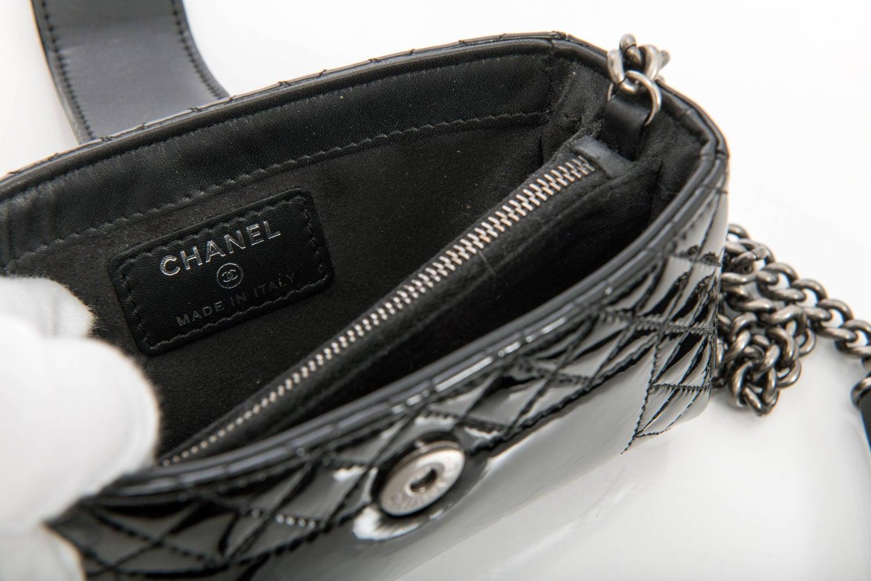 15d1265267ee Chanel Black Patent Boy Reverso Mini Pochette Crossbody Bag at 1stdibs