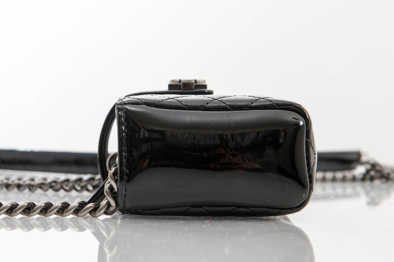 Chanel Black Patent Boy Reverso Mini Pochette Crossbody Bag For Sale 4