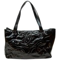 Chanel Black Patent CC Tote Bag