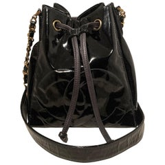 Chanel Black Patent Drawstring Bucket Bag