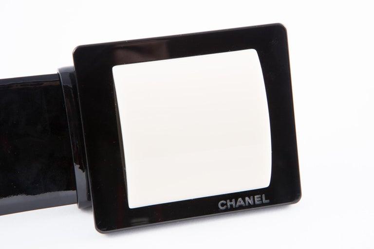 Orange Chanel Black Patent Lamb Belt  For Sale