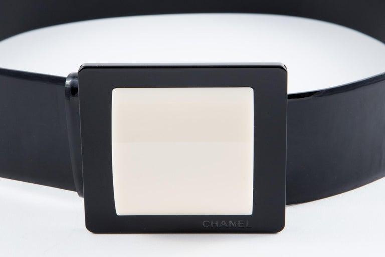 Chanel Black Patent Lamb Belt  For Sale 1