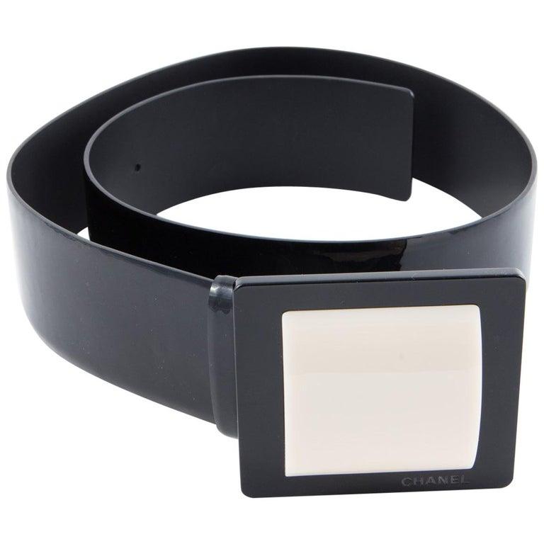 Chanel Black Patent Lamb Belt  For Sale