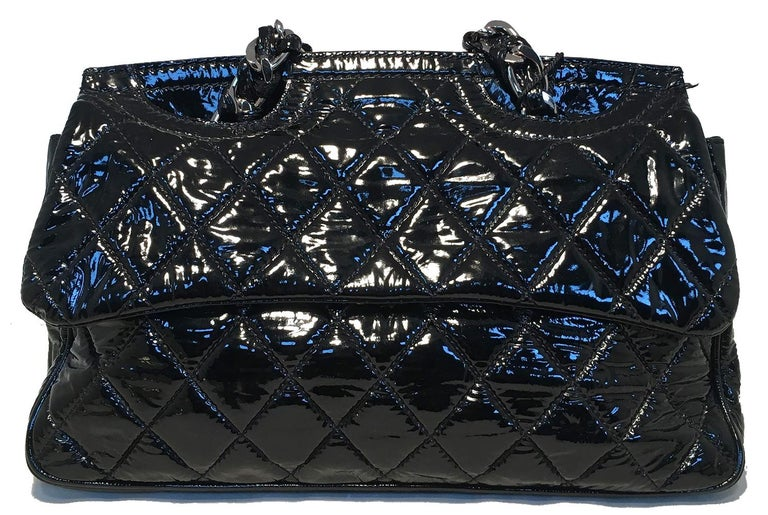 Women's Chanel Black Patent Leather 2 way Classic Flap Shoulder Bag  For Sale