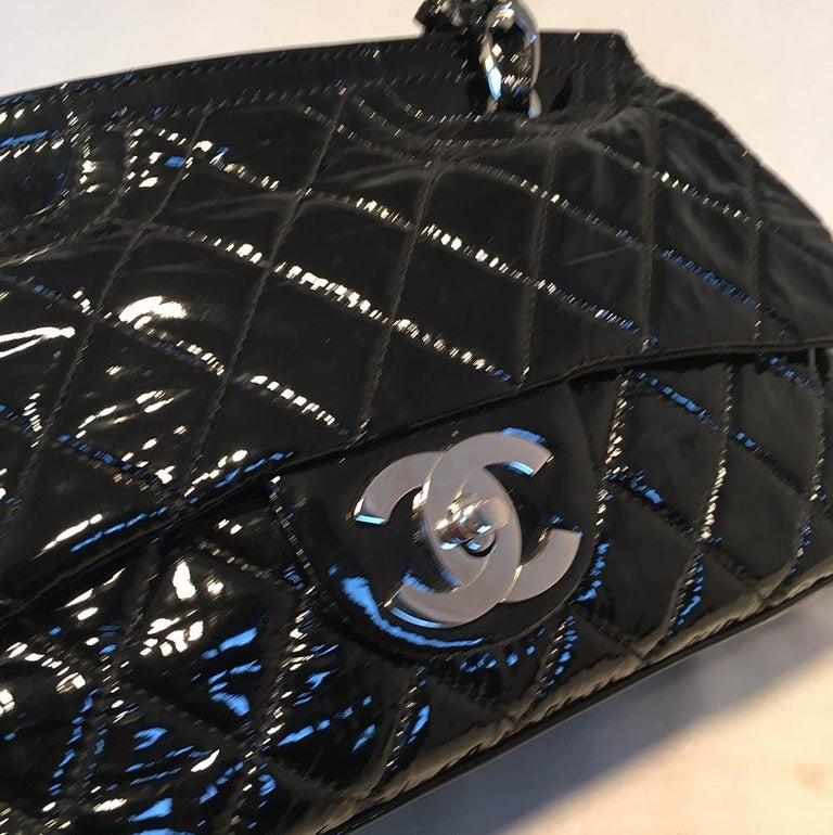 Chanel Black Patent Leather 2 way Classic Flap Shoulder Bag  For Sale 2