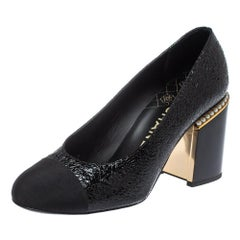 Chanel Black Patent Leather And Fabric Cap Toe Pearl Heel Pump Size 39.5