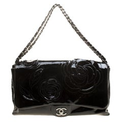 Chanel Black Patent Leather Camellia Accordion 3 Classic Flap Bag