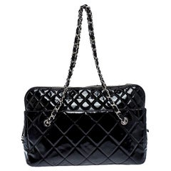 Chanel Black Patent Leather Camera In The Business Bag