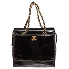 Chanel Black Patent Leather CC Chain Tote Bag