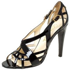 Chanel Black Patent Leather CC Strappy Sandals Size 37.5