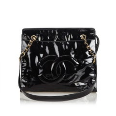 Chanel Black Patent Leather Chain Tote Bag