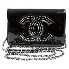 Chanel Black Patent Leather Crystal CC Wallet on a Chain