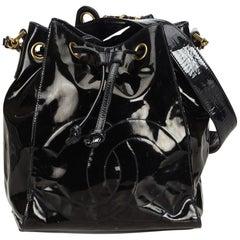 Chanel Black Patent Leather Drawstring Bucket Bag