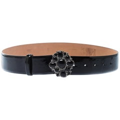 Chanel Black Patent Leather Embellished Buckle Belt 80cm