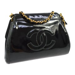 Chanel Black Patent Leather Gold Small Mini Party Shoulder Bag in Box