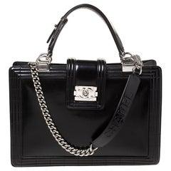 Chanel Black Patent Leather Large Boy Shopper Tote