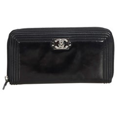 Chanel Black Patent Leather Leather Boy Long Wallet France