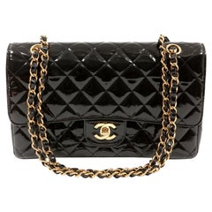 Chanel Black Patent Leather Medium Classic Flap Bag