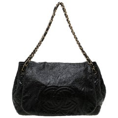 Chanel Black Patent Leather Medium Rock and Chain Flap Bag