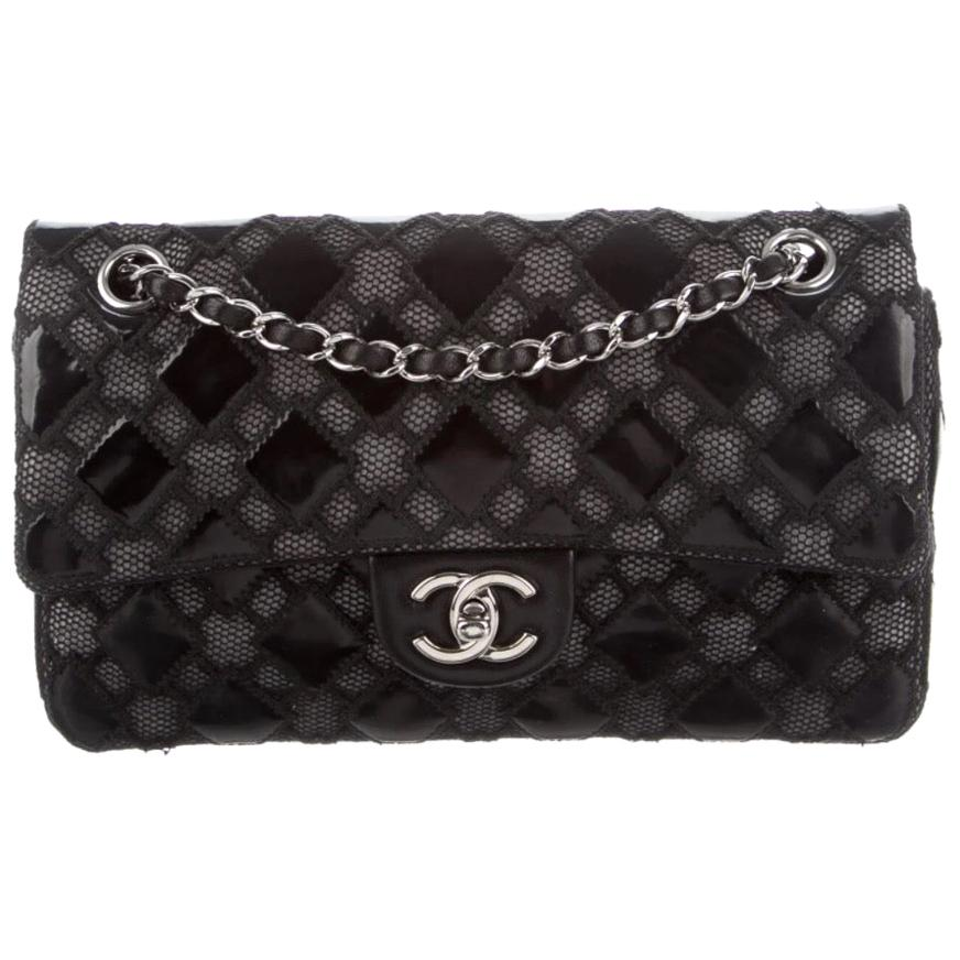 Chanel Black Patent Leather Mesh Silver Medium Evening Shoulder Flap Bag