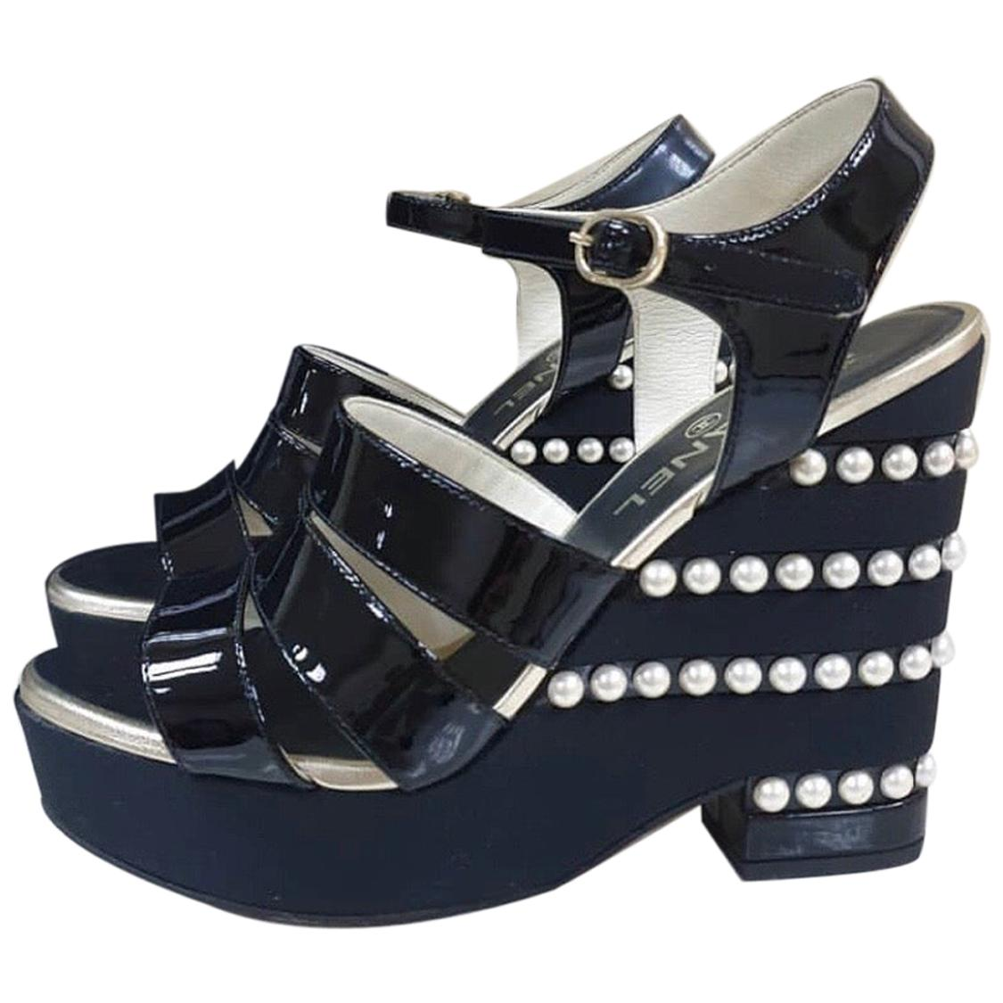 Chanel Black Patent Leather Pearl Wedge
