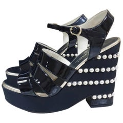 Chanel Black Patent Leather Pearl Wedge Sandals
