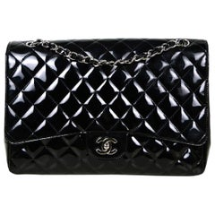 Chanel Black Patent Leather Quilted Single Flap Maxi Classic Bag